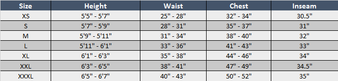 Mens Apparel Sizing Chart