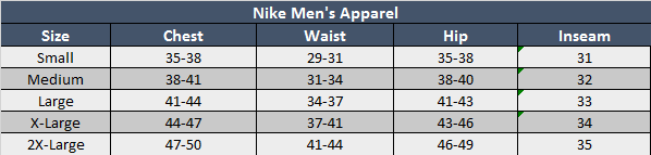 Nike Mens Apparel Sizing Chart