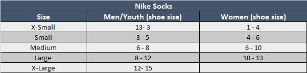 Nike Socks Size Chart