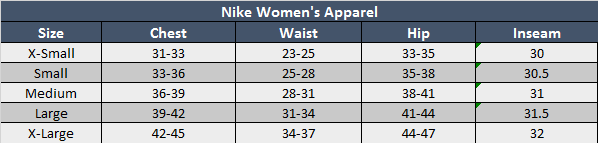 Nike Womens Apparel Sizing Chart