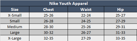 Nike Youth Apparel Sizing Chart