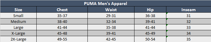 Puma Mens Apparel Sizing Chart