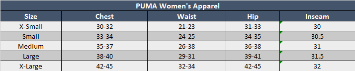 Puma Womens Apparel Sizing Chart
