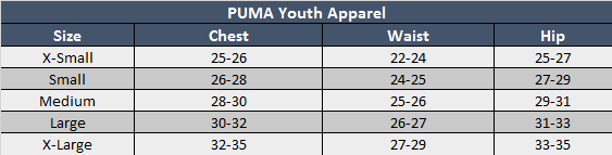 Puma Youth Apparel Sizing Chart
