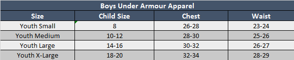 Under Armour Boys Apparel Sizing Chart