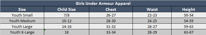 Under Armour Girls Apparel Sizing Chart