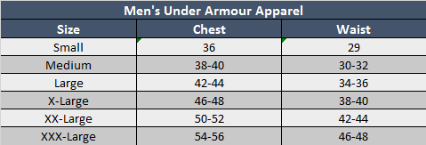 Under Armour Mens Apparel Sizing Chart