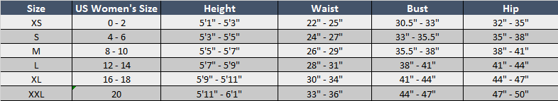Womens Apparel Sizing Chart