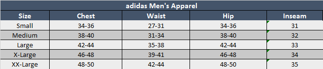 adidas Mens Apparel Sizing Chart
