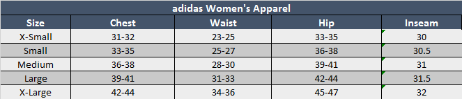 adidas Womens Apparel Sizing Chart